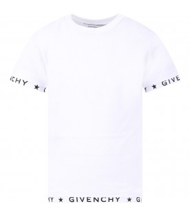 GIVENCHY KIDS White girl T-shirt with black logo