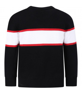 GIVENCHY KIDS Black boy sweater with black logo