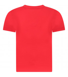 GIVENCHY KIDS Red kids T-shirt with white rubbred logo