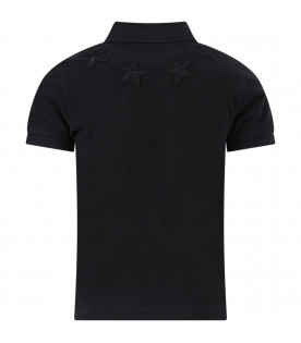 GIVENCHY KIDS Black boy polo shirt with stars