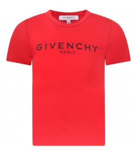 GIVENCHY KIDS Red girl T-shirt with white rubbred logo