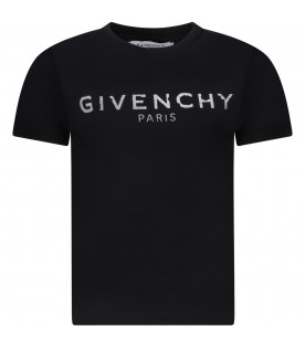 GIVENCHY KIDS Black girl T-shirt with white rubbred logo
