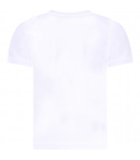 GIVENCHY KIDS White girl T-shirt with black rubbred logo