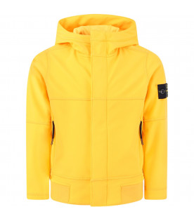 STONE ISLAND JUNIOR Yellow boy windbreaker with colorful iconic patch