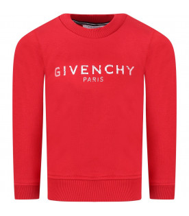 GIVENCHY KIDS Red kids sweatshirt with white logo