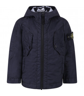 STONE ISLAND JUNIOR blue boy windbreaker with colorful iconic patch
