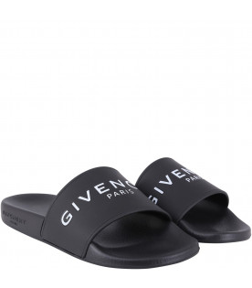 GIVENCHY KIDS Black kids sandals with white logo