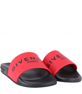 GIVENCHY KIDS Black and red kids sandals with black logo