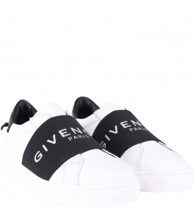 GIVENCHY KIDS Sneakers bianche per bambina con logo argento
