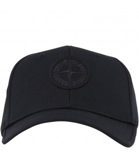 STONE ISLAND JUNIOR Black boy hat with iconic logo