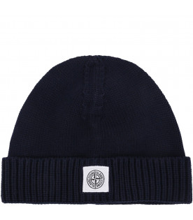 STONE ISLAND JUNIOR Cappello blu per bambino con iconico patch