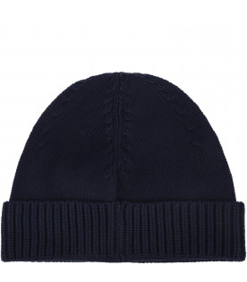 STONE ISLAND JUNIOR Blue boy hat with iconic patch