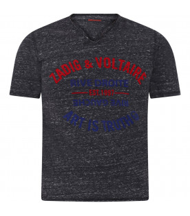 ZADIG & VOLTAIRE KIDS Grey boy T-shirt with red and blue logo