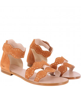 CHLOÉ KIDS Ecru giel sandals