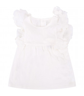 CHLOÉ KIDS White babygirl tank top with ruffle