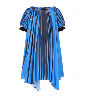 GIVENCHY KIDS Black, white and light blue girl dress with metallic logo