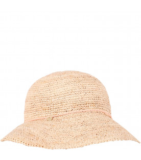 CHLOÉ KIDS Ecru girl hat with pink bow