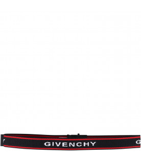 GIVENCHY KIDS Black kids belt with white logo