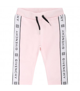 GIVENCHY KIDS Pink babygirl tracksuit with black logo