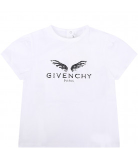 GIVENCHY KIDS White babykids T-shirt with black logo and wings