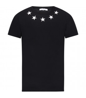 GIVENCHY KIDS T-shirt nera per bambini con stelle bianche vintage