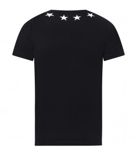 GIVENCHY KIDS Black kids T-shirt with white vintage stars