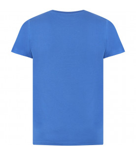 GIVENCHY KIDS Light blue kids T-shirt with white rubbred logo
