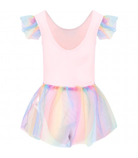 BILLIEBLUSH Pink girl swimsuit with colorful tutu