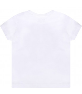 KENZO KIDS White babygirl T-shirt with colorful iconic tiger