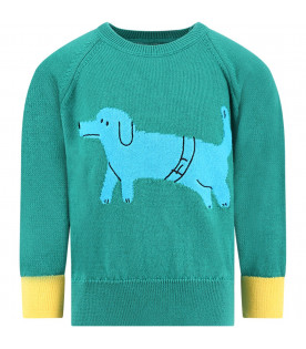 BOBO CHOSES Green kids sweater with duchshund