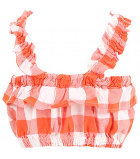 BOBO CHOSES Orange and white Vichy checjed girl top