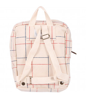 BOBO CHOSES Beige checked kids backpack with duchshund