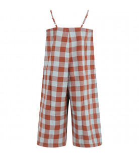 BOBO CHOSES Brown and green Vichy checked girl jumpsuit
