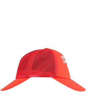 BOBO CHOSES Red double peaks kids hat