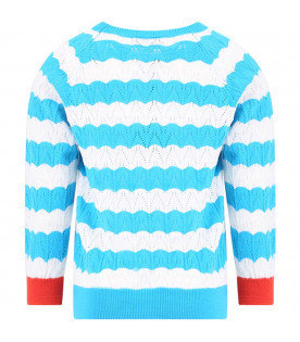 BOBO CHOSES Light blue and white striped kids sweater