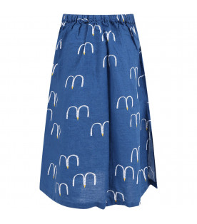 BOBO CHOSES Blue long girl skirt with seagull