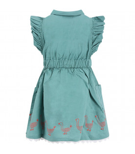 BOBO CHOSES Green girl dress with ducks