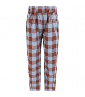 BOBO CHOSES Brown and light blue Vichy checked kids pants