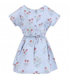 BOBO CHOSES Light blue girl dress with tulips