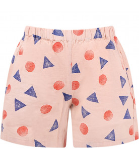 BOBO CHOSES Pink girl shorts with all-over print