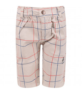 BOBO CHOSES Beige checked boy shorts