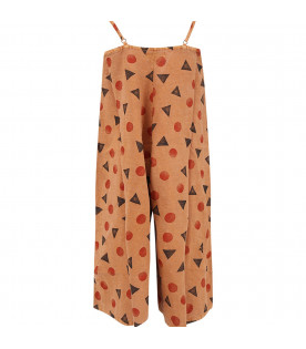 BOBO CHOSES Brown girl jumpsuit with all-over print
