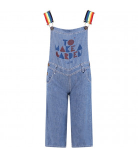 BOBO CHOSES Denim kids overall with rainbow shoulder straps