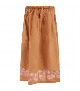 BOBO CHOSES Ochre long girl skirt with waves