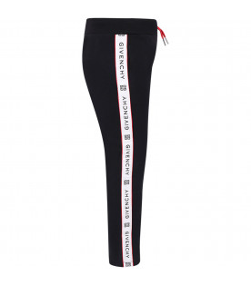 GIVENCHY KIDS Black girl sweatpants with black logo