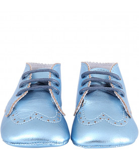 GALLUCCI KIDS Light blue metallic babyboy shoes