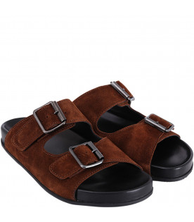 GALLUCCI KIDS Brown boy sandals