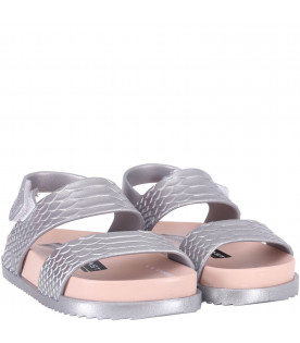 MINI MELISSA Silver girl sandals