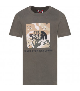 THE NORTH FACE KIDS T-shirt verde per bambino con logo nero