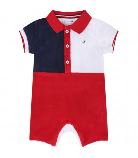 TOMMY HILFIGER JUNIOR Color block babyboy babygrow with iconic flag